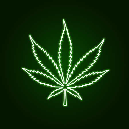 Cannabis marijuana neon glowing sign on dark background. Vector illustration.