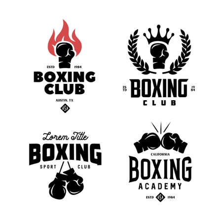 Boxing club labels set. Vector vintage illustration. Stok Fotoğraf