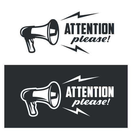 Atención, por favor símbolos en fondo blanco y oscuro. Señal de advertencia de cartel de banner comercial monocromo. Ilustración vectorial Ilustración de vector