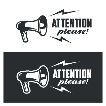 Attention please symbols set on white and dark background. Monochrome commercial banner poster warning sign. Vector illustration.