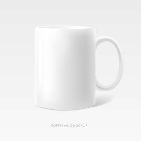 Coffee tea mug photo realistic mock up. Branding identity white clean object for logotype above presentation. Vector illustration. Ilustração