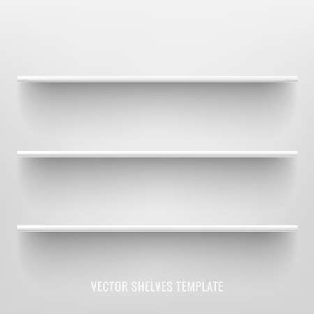 White photo realistic shelves on white background. Front view of clean empty supermarket store shelves. Vector illustration. Illustration