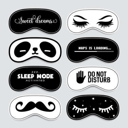 Sleeping mask design set. Cute and funny blindfold design collection. Vector vintage illustration.
