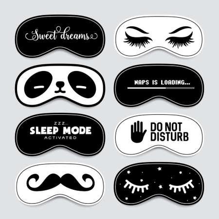 Slaapmasker ontwerpset. Leuke en grappige blinddoek ontwerpcollectie. Vintage vectorillustratie.