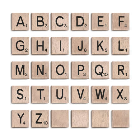 Wooden tiles alphabet 3d realistic letters. Word puzzling board game design elements set. Vector illustration. 向量圖像