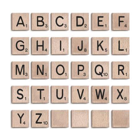 Wooden tiles alphabet 3d realistic letters. Vector illustration.