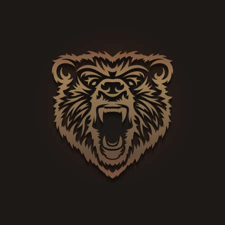 Grizzly bear head emblem. Tattoo style wild animal logotype template. Snarling bear mouth wide open. Vector vintage illustration.