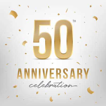 50th anniversary celebration golden template. Shiny gold numbers with confetti around. Vector illustration. Reklamní fotografie - 108760031