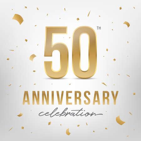 Goldene Vorlage zum 50-jährigen Jubiläum. Glänzende goldene Zahlen mit Konfetti. Vektorillustration.