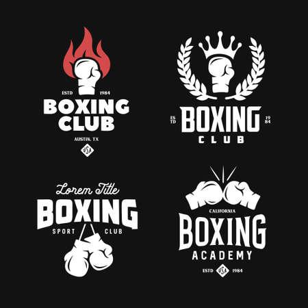 Set di etichette del club di boxe. Illustrazione vettoriale vintage. Vettoriali