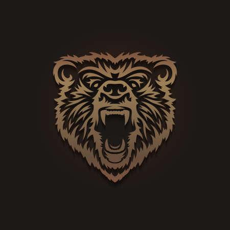 Grizzly bear head emblem. Vector vintage illustration.