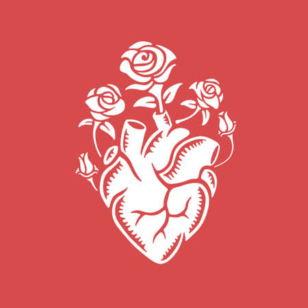 Hand drawn human heart with roses. Vintage vector illustration.  イラスト・ベクター素材