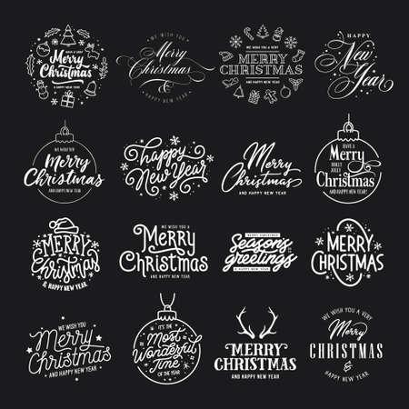 Prettige kerstdagen en gelukkig Nieuwjaar typografie set. Vintage vectorillustratie.