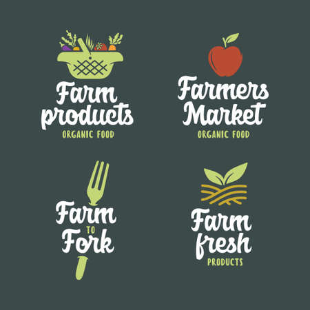 Farm related emblems set. Vector vintage illustration. Stock Illustratie