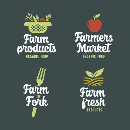 Ensemble d'emblèmes liés à la ferme. Illustration vintage de vecteur. Vecteurs