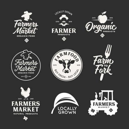 Boerenmarkt etiketten emblemen badges instellen. Vintage vectorillustratie.