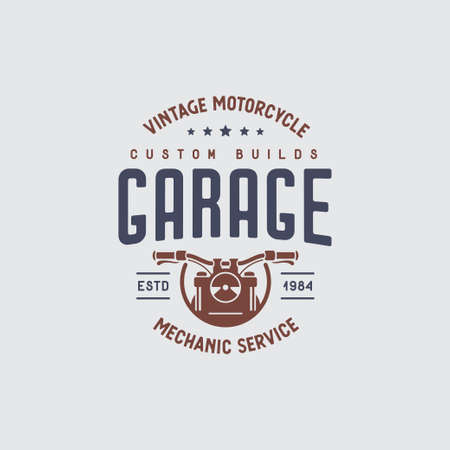Motorcycles garage t-shirt design. Vector vintage illustration.