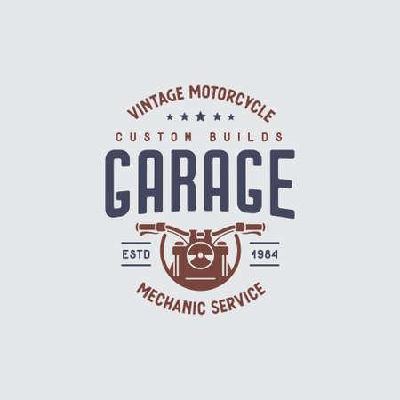 Motorcycles garage t-shirt design. Vector vintage illustration.