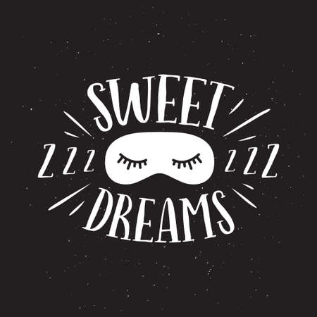 Sweet dreams good night typography. Vector vintage illustration. 写真素材