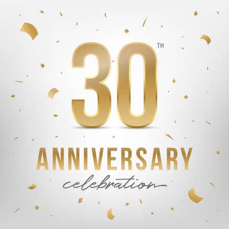 Modello dorato di celebrazione del 30 ° anniversario. Numeri in oro lucido con coriandoli intorno. Illustrazione vettoriale.