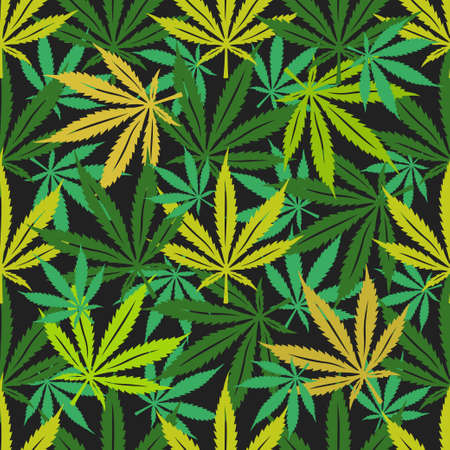 Cannabis marijuana seamless pattern.