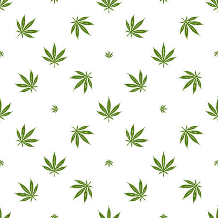 Cannabis marijuana seamless pattern. Minimalist style decorative elements for apparel design prints wrapping paper. Vector illustration.