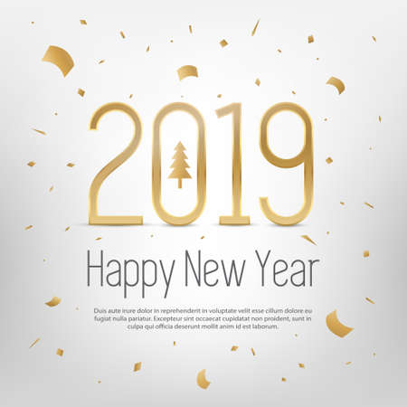 Happy New Year 2019 greeting card. Banco de Imagens
