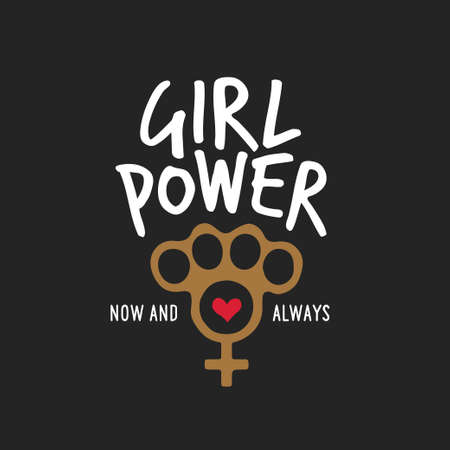 Girl power t-shirt design with feminine symbol.