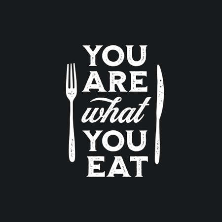 You are what you eat typography print. Banque d'images