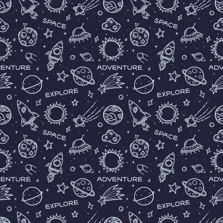 Space elements hand drawn seamless pattern.