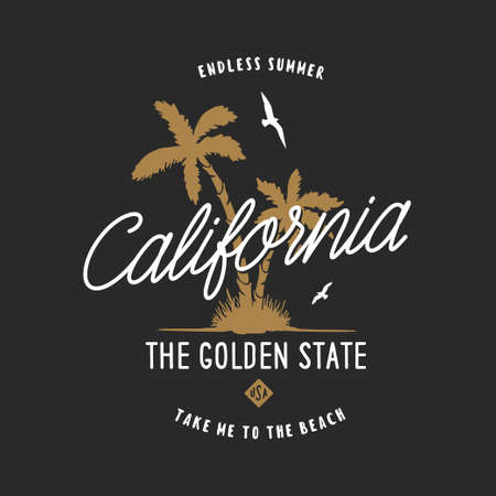 California golden state t-shirt design. Stock Photo