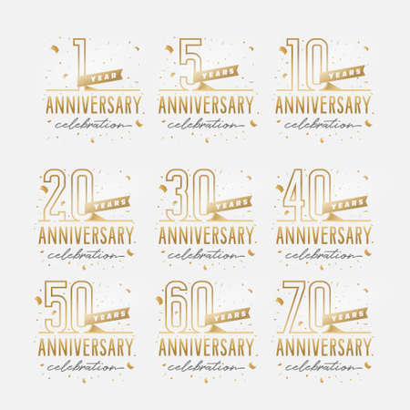 Anniversary celebration golden template set. Shiny gold numbers with confetti around. Vector illustration. Vettoriali