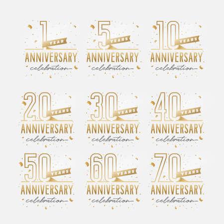 Verjaardag viering gouden sjabloon set. Glanzende gouden cijfers met confetti rond. Vector illustratie.
