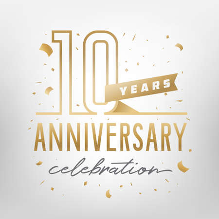10th anniversary celebration golden template. Shiny gold numbers with confetti around. Vector illustration. Иллюстрация