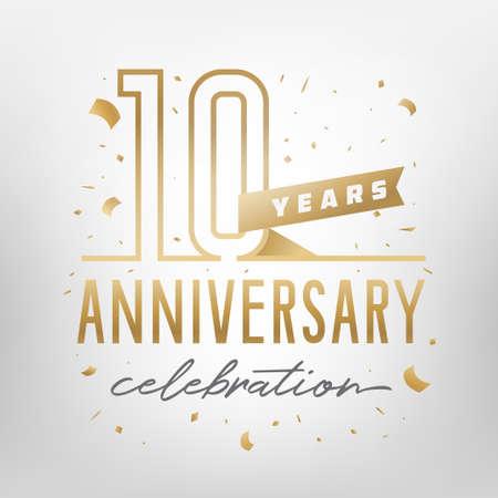 Plantilla de oro de celebración del 10 aniversario. Números de oro brillante con confeti alrededor. Ilustración vectorial.