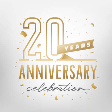 20th anniversary celebration golden template. Shiny gold numbers with confetti around. Vector illustration.