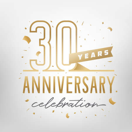 30th anniversary celebration golden template. Shiny gold numbers with confetti around. Vector illustration.