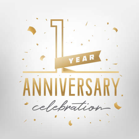 First anniversary celebration golden template. Shiny gold numbers with confetti around. Vector illustration. Ilustração