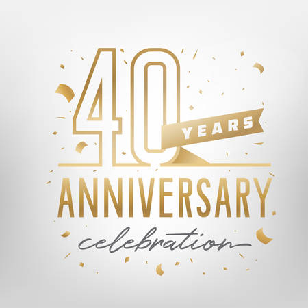 40th anniversary celebration golden template. Shiny gold numbers with confetti around. Vector illustration. Stok Fotoğraf - 125329390