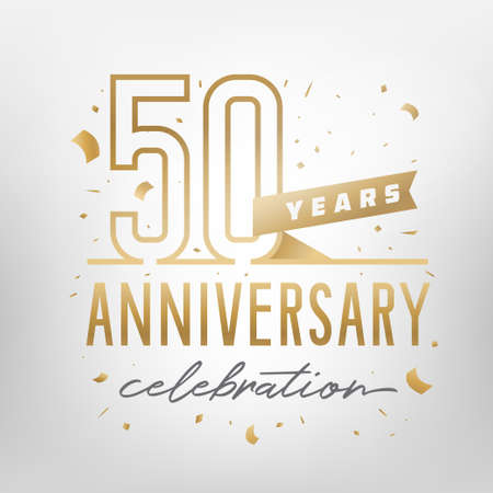 50th anniversary celebration golden template. Shiny gold numbers with confetti around. Vector illustration.