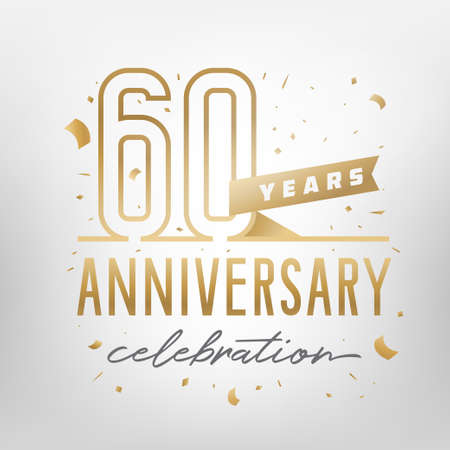 60th anniversary celebration golden template. Shiny gold numbers with confetti around. Vector illustration.