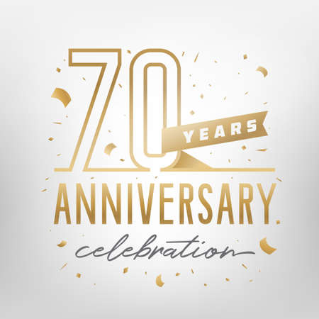 70th anniversary celebration golden template. Shiny gold numbers with confetti around. Vector illustration.