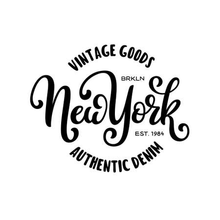 Vintage hand lettered t-shirt design. New york city text.