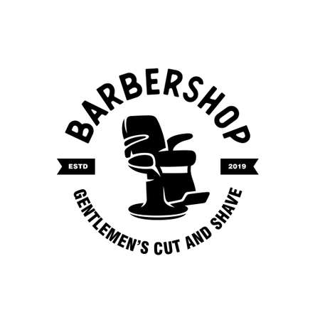 Barber shop emblem badge logotype sign. Vector vintage illustration. Logo