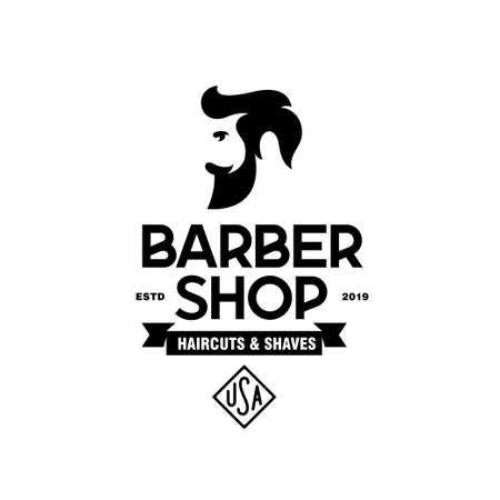 Barber shop emblem badge logotype sign. Illustration
