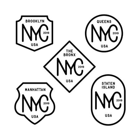New York city boroughs badges set. Vector vintage illustration.