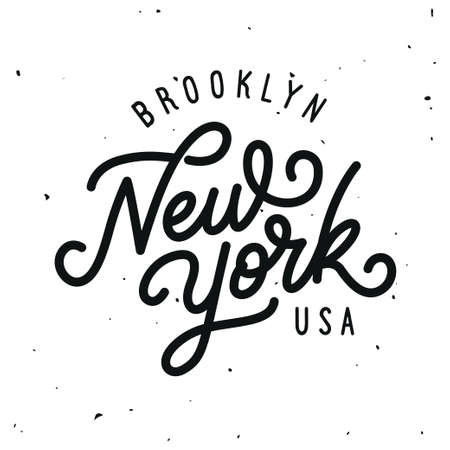 Vintage hand lettered t-shirt design. New york city text. Vector illustration. Illustration