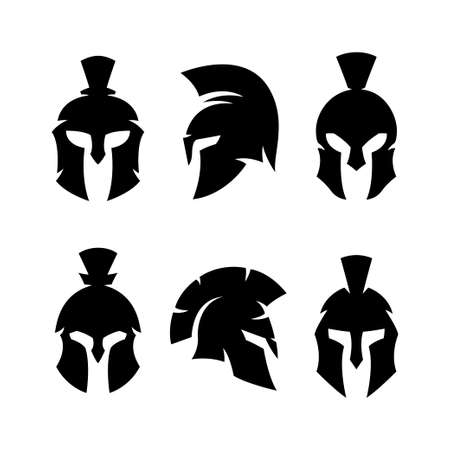 Spartan helmet warrior emblems logotypes set. Çizim