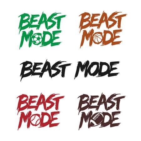 Set di lettere di citazione in modalità bestia. Illustrazione vettoriale.
