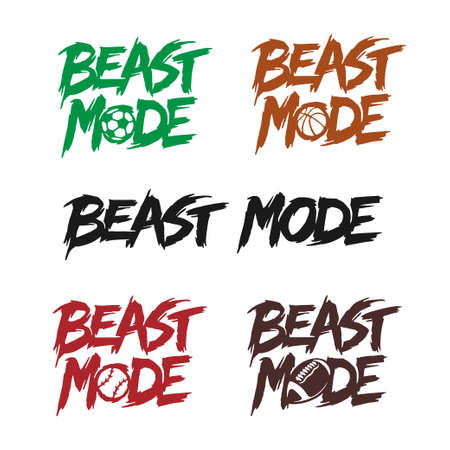 Beast mode quote lettering set. Vector illustration.